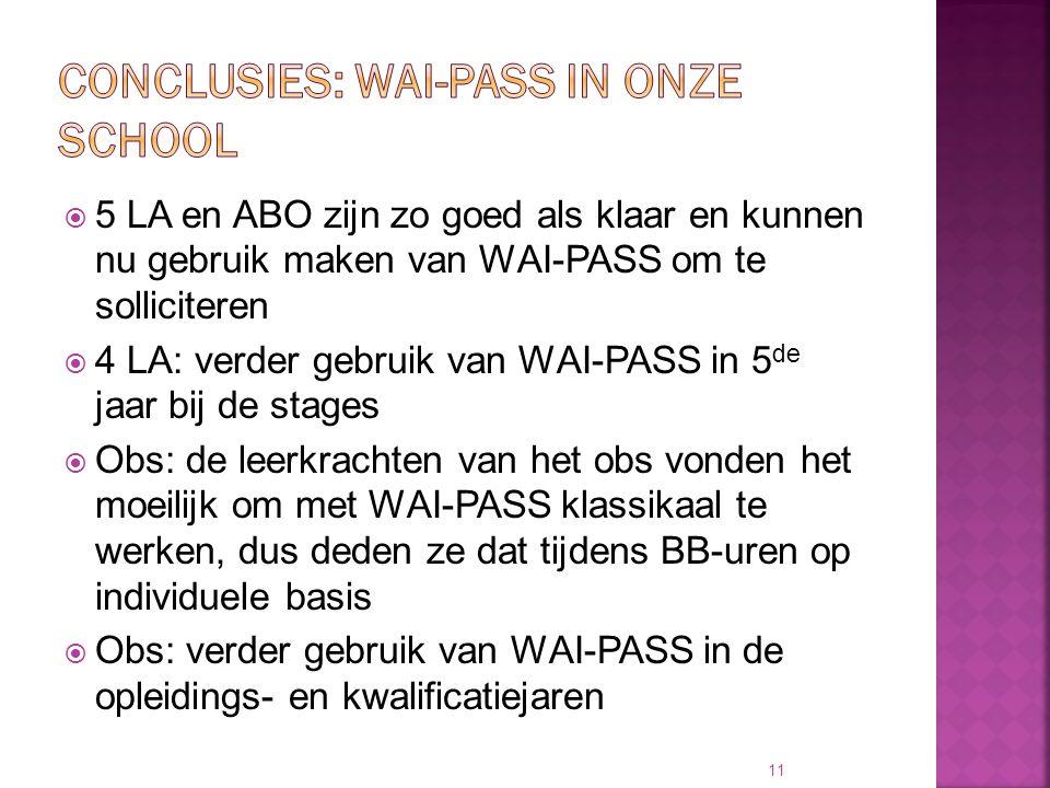  5 LA en ABO zijn zo goed als klaar en kunnen nu gebruik maken van WAI-PASS om te solliciteren  4 LA: verder gebruik van WAI-PASS in 5 de jaar bij d