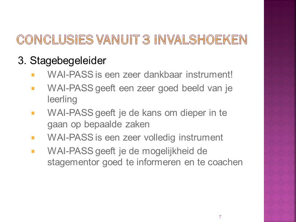 3. Stagebegeleider  WAI-PASS is een zeer dankbaar instrument!  WAI-PASS geeft een zeer goed beeld van je leerling  WAI-PASS geeft je de kans om die