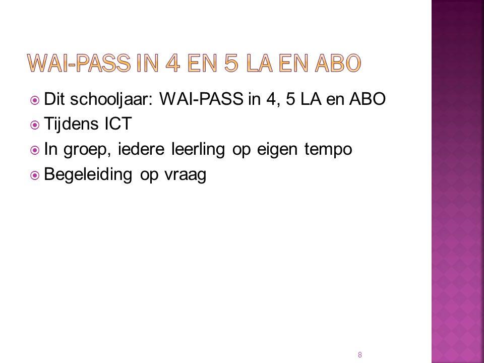  Dit schooljaar: WAI-PASS in 4, 5 LA en ABO  Tijdens ICT  In groep, iedere leerling op eigen tempo  Begeleiding op vraag 8