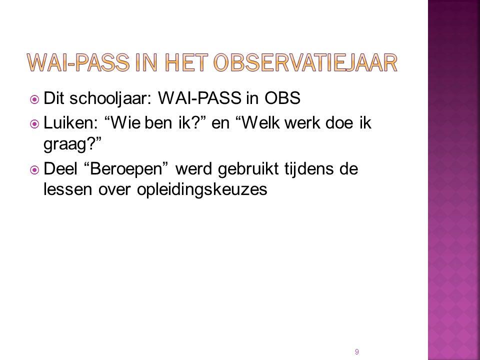 """ Dit schooljaar: WAI-PASS in OBS  Luiken: """"Wie ben ik?"""" en """"Welk werk doe ik graag?""""  Deel """"Beroepen"""" werd gebruikt tijdens de lessen over opleidin"""
