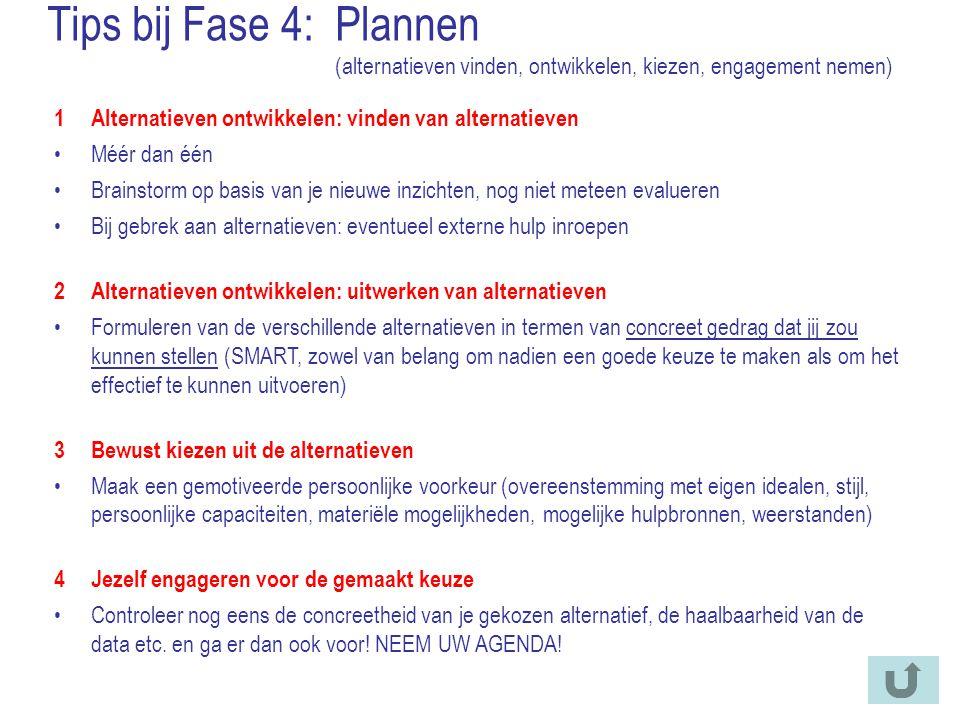 Tips bij Fase 4:Plannen (alternatieven vinden, ontwikkelen, kiezen, engagement nemen) 1Alternatieven ontwikkelen: vinden van alternatieven Méér dan éé