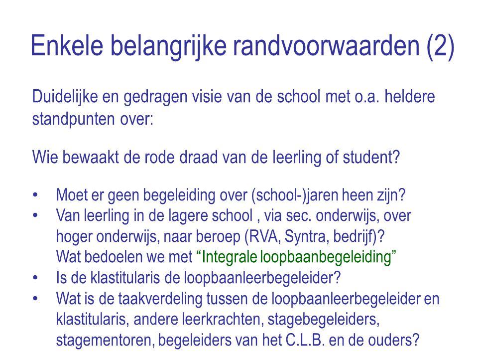 Enkele belangrijke randvoorwaarden (2) Duidelijke en gedragen visie van de school met o.a. heldere standpunten over: Wie bewaakt de rode draad van de