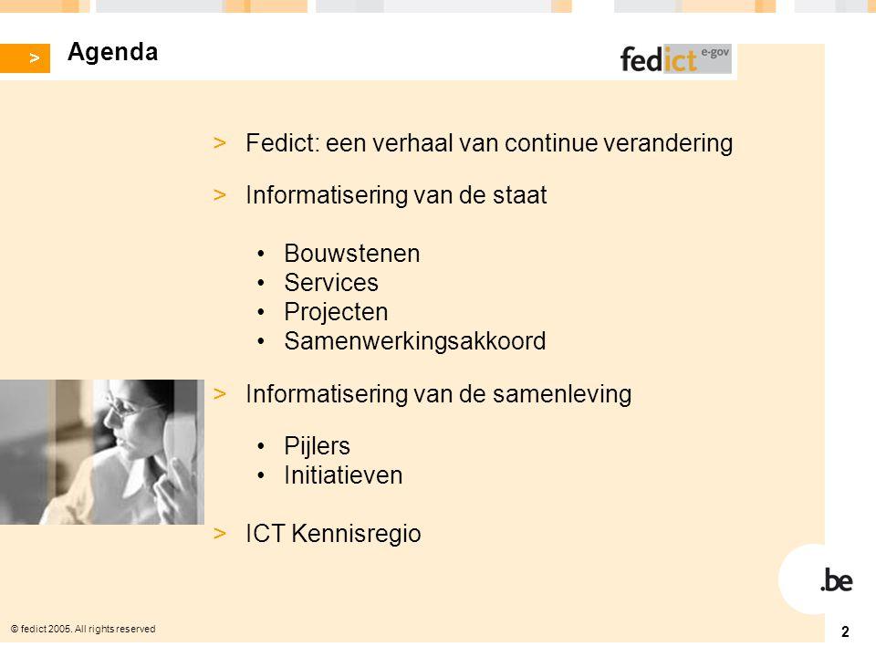 © fedict 2005. All rights reserved 3 > Fedict: een verhaal van continu verandering
