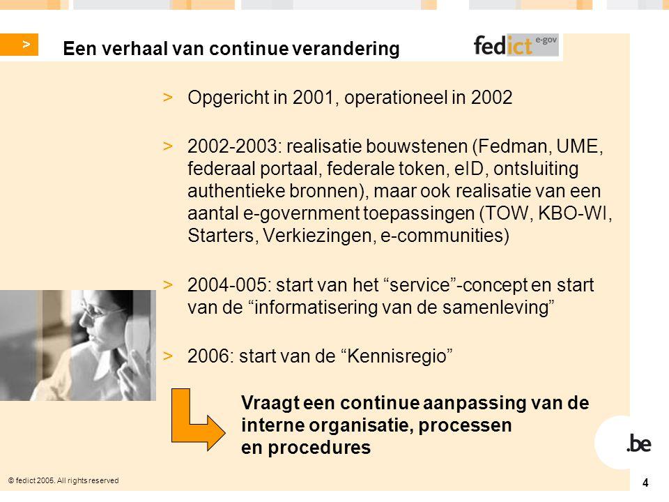 © fedict 2005. All rights reserved 5 > Informatisering van de Staat