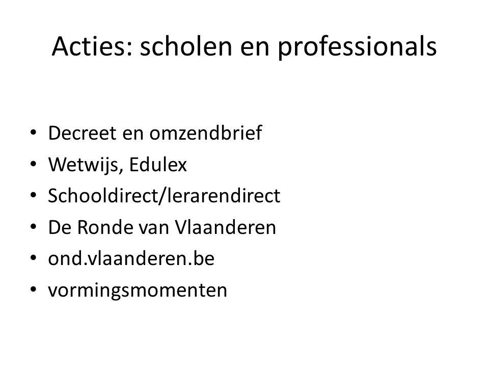 Acties: scholen en professionals Decreet en omzendbrief Wetwijs, Edulex Schooldirect/lerarendirect De Ronde van Vlaanderen ond.vlaanderen.be vormingsm