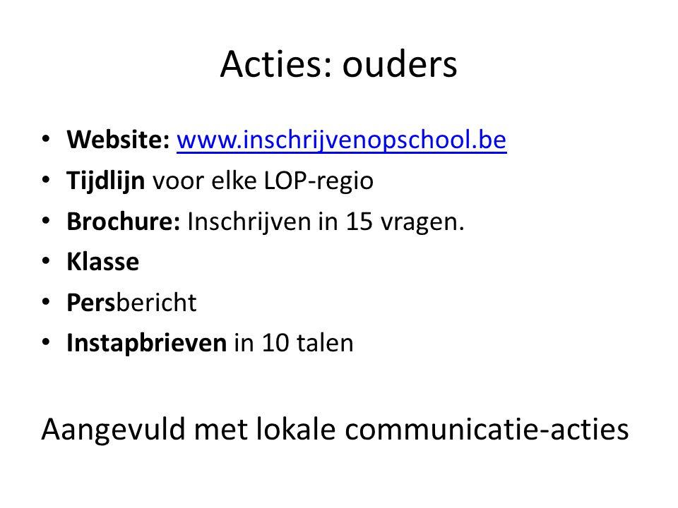 Acties: ouders Website: www.inschrijvenopschool.bewww.inschrijvenopschool.be Tijdlijn voor elke LOP-regio Brochure: Inschrijven in 15 vragen. Klasse P