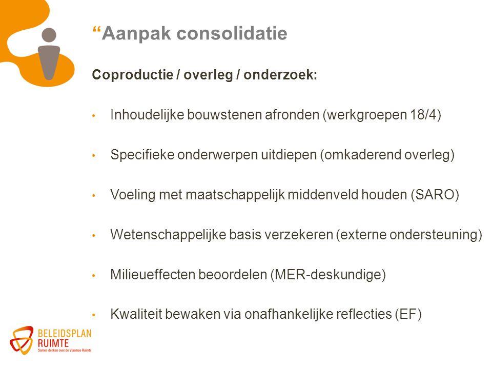 """""""Aanpak consolidatie Coproductie / overleg / onderzoek: Inhoudelijke bouwstenen afronden (werkgroepen 18/4) Specifieke onderwerpen uitdiepen (omkadere"""