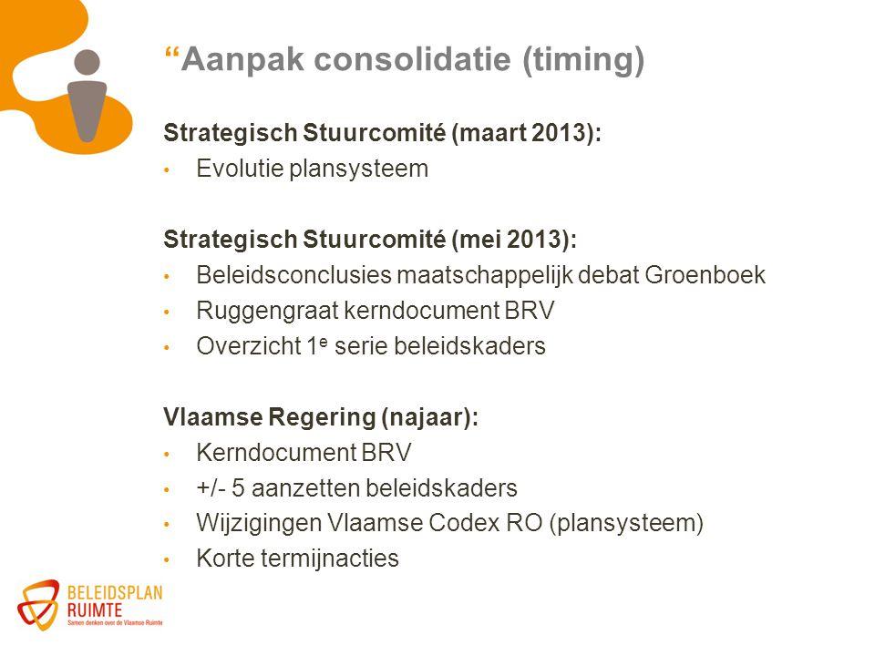 """""""Aanpak consolidatie (timing) Strategisch Stuurcomité (maart 2013): Evolutie plansysteem Strategisch Stuurcomité (mei 2013): Beleidsconclusies maatsch"""