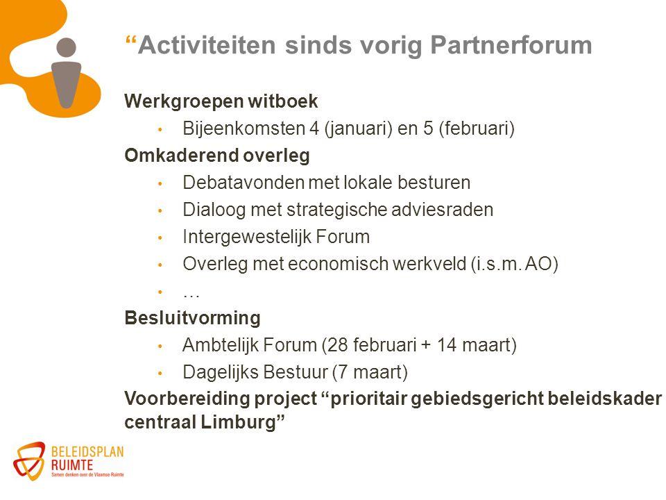 """""""Activiteiten sinds vorig Partnerforum Werkgroepen witboek Bijeenkomsten 4 (januari) en 5 (februari) Omkaderend overleg Debatavonden met lokale bestur"""