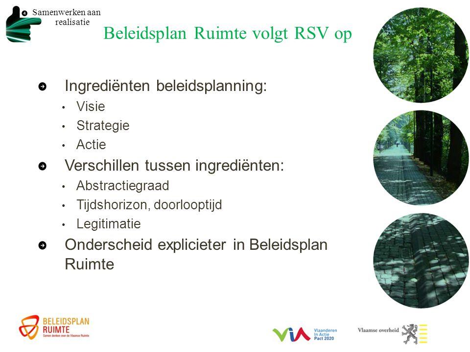 Beleidsplan Ruimte volgt RSV op Samenwerken aan realisatie Ingrediënten beleidsplanning: Visie Strategie Actie Verschillen tussen ingrediënten: Abstractiegraad Tijdshorizon, doorlooptijd Legitimatie Onderscheid explicieter in Beleidsplan Ruimte