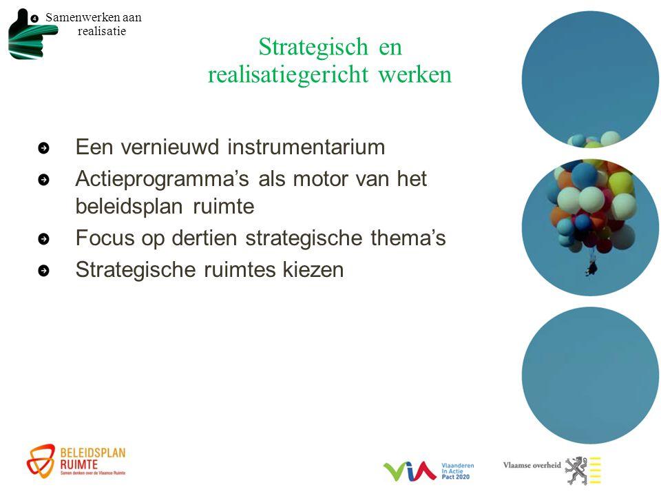 Strategisch en realisatiegericht werken Een vernieuwd instrumentarium Actieprogramma's als motor van het beleidsplan ruimte Focus op dertien strategische thema's Strategische ruimtes kiezen Samenwerken aan realisatie