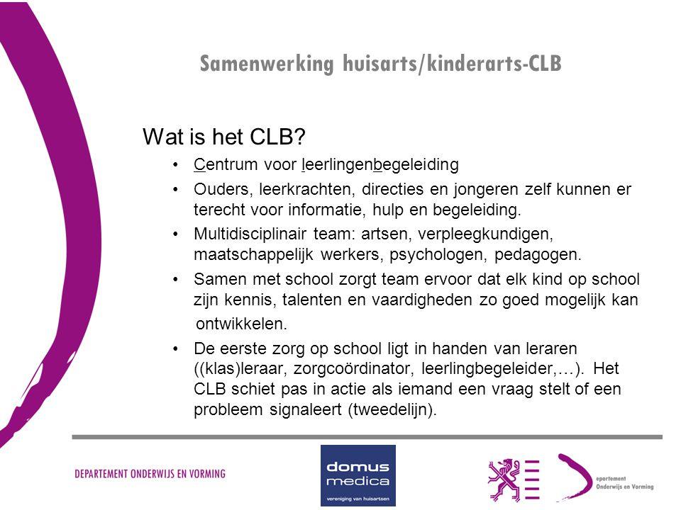 Wat is het CLB? Centrum voor leerlingenbegeleiding Ouders, leerkrachten, directies en jongeren zelf kunnen er terecht voor informatie, hulp en begelei