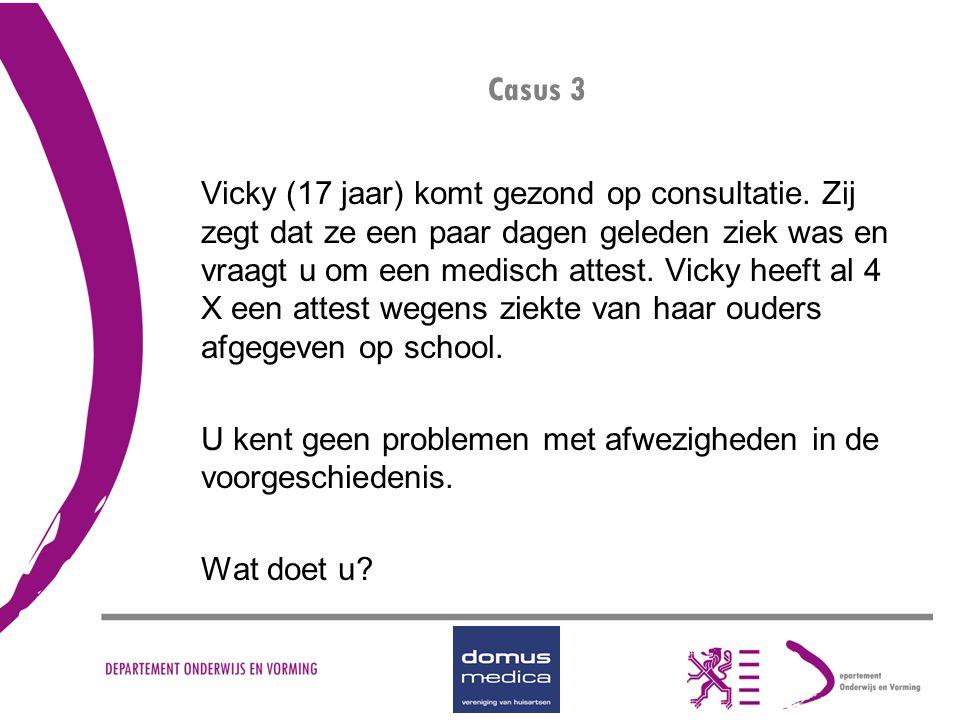 Casus 3 Vicky (17 jaar) komt gezond op consultatie. Zij zegt dat ze een paar dagen geleden ziek was en vraagt u om een medisch attest. Vicky heeft al