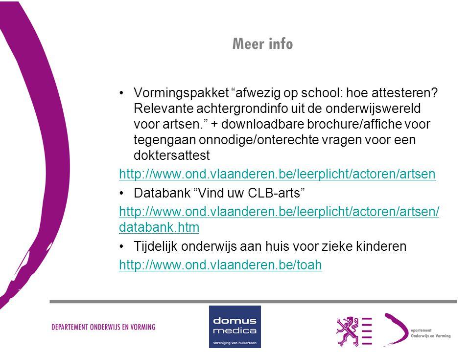 """Meer info Vormingspakket """"afwezig op school: hoe attesteren? Relevante achtergrondinfo uit de onderwijswereld voor artsen."""" + downloadbare brochure/af"""