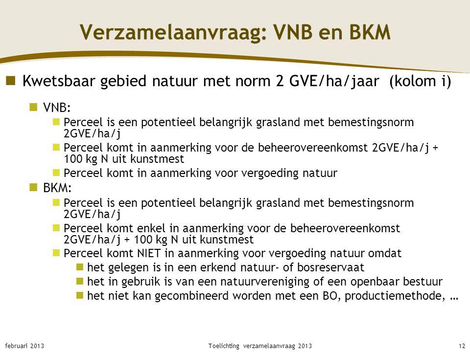 Verzamelaanvraag: VNB en BKM Kwetsbaar gebied natuur met norm 2 GVE/ha/jaar (kolom i) VNB: Perceel is een potentieel belangrijk grasland met bemesting