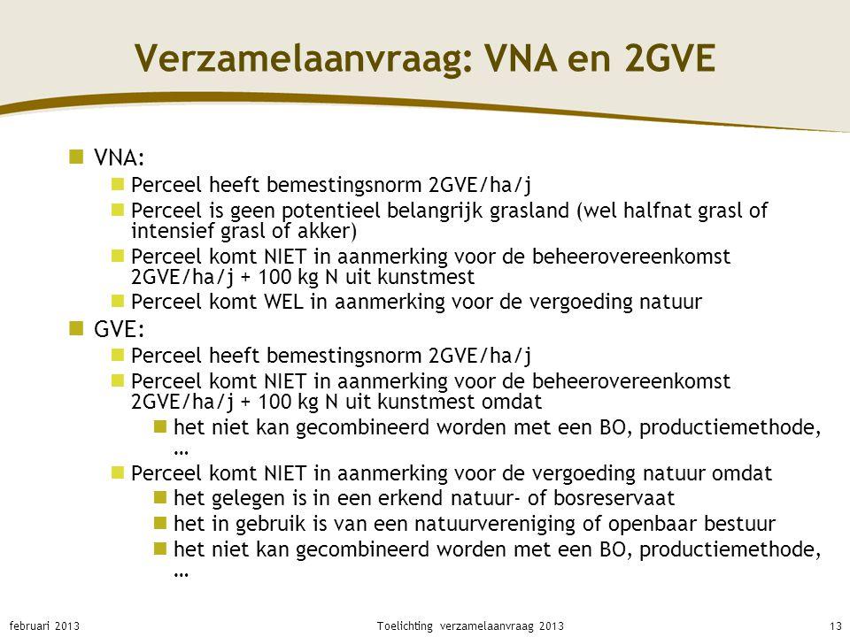 Verzamelaanvraag: VNA en 2GVE VNA: Perceel heeft bemestingsnorm 2GVE/ha/j Perceel is geen potentieel belangrijk grasland (wel halfnat grasl of intensi