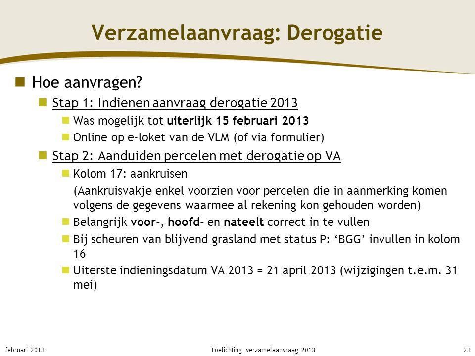 Verzamelaanvraag: Derogatie Hoe aanvragen? Stap 1: Indienen aanvraag derogatie 2013 Was mogelijk tot uiterlijk 15 februari 2013 Online op e-loket van