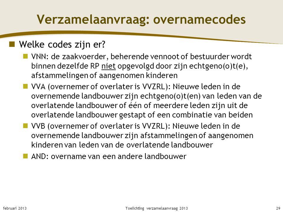 Verzamelaanvraag: overnamecodes Welke codes zijn er? VNN: de zaakvoerder, beherende vennoot of bestuurder wordt binnen dezelfde RP niet opgevolgd door