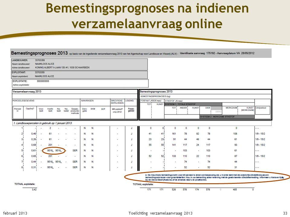 Bemestingsprognoses na indienen verzamelaanvraag online februari 201333Toelichting verzamelaanvraag 2013 a: De maximale bemestingsnorm voor dit percee