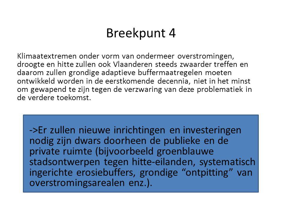 Breekpunt 4 Klimaatextremen onder vorm van ondermeer overstromingen, droogte en hitte zullen ook Vlaanderen steeds zwaarder treffen en daarom zullen grondige adaptieve buffermaatregelen moeten ontwikkeld worden in de eerstkomende decennia, niet in het minst om gewapend te zijn tegen de verzwaring van deze problematiek in de verdere toekomst.