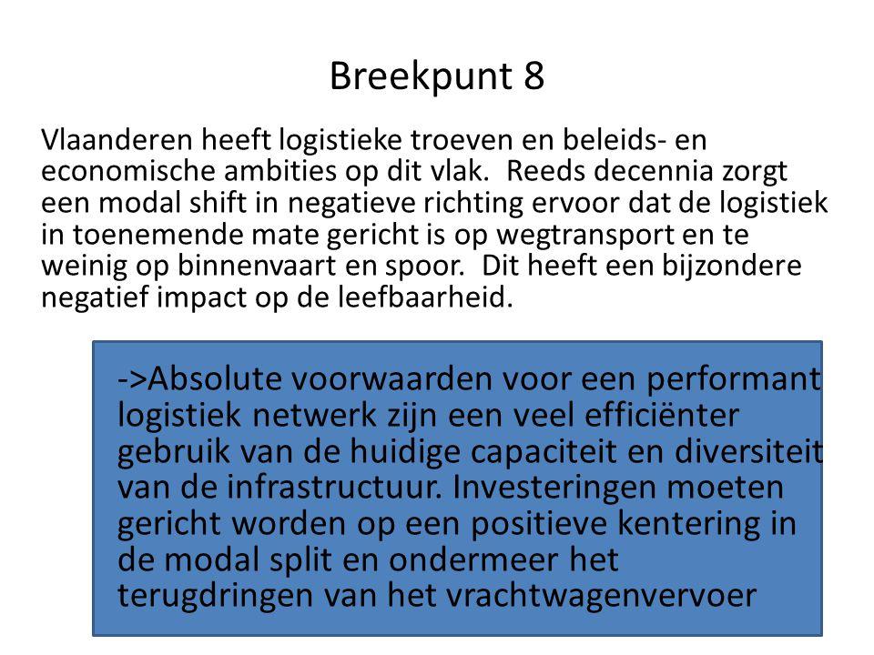 Breekpunt 8 Vlaanderen heeft logistieke troeven en beleids- en economische ambities op dit vlak. Reeds decennia zorgt een modal shift in negatieve ric
