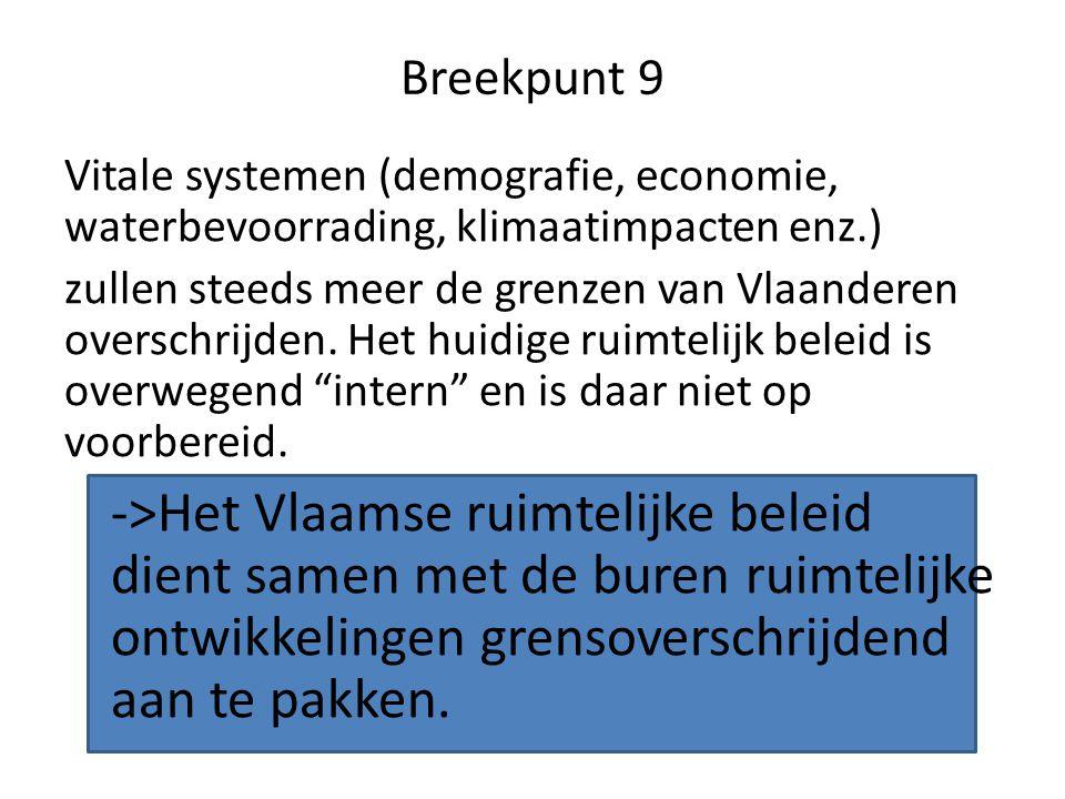 Breekpunt 9 Vitale systemen (demografie, economie, waterbevoorrading, klimaatimpacten enz.) zullen steeds meer de grenzen van Vlaanderen overschrijden.