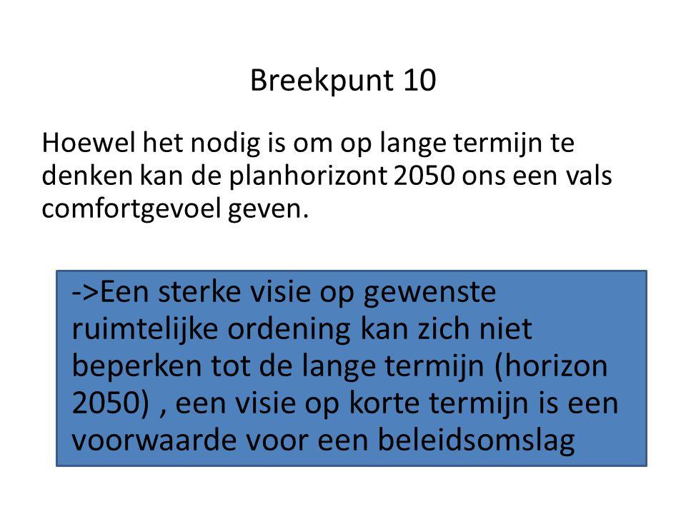 Breekpunt 10 Hoewel het nodig is om op lange termijn te denken kan de planhorizont 2050 ons een vals comfortgevoel geven.