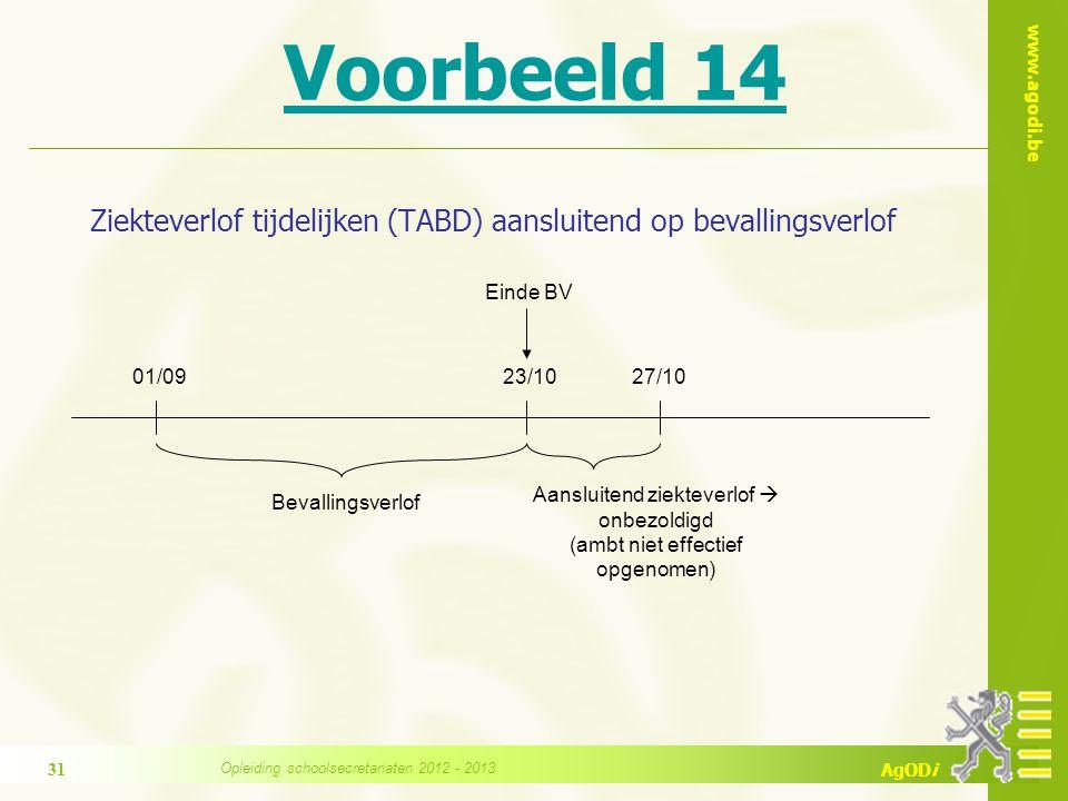 www.agodi.be AgODi Voorbeeld 14 Ziekteverlof tijdelijken (TABD) aansluitend op bevallingsverlof Einde BV 23/1027/10 Bevallingsverlof 01/09 Aansluitend ziekteverlof  onbezoldigd (ambt niet effectief opgenomen) Opleiding schoolsecretariaten 2012 - 2013 31