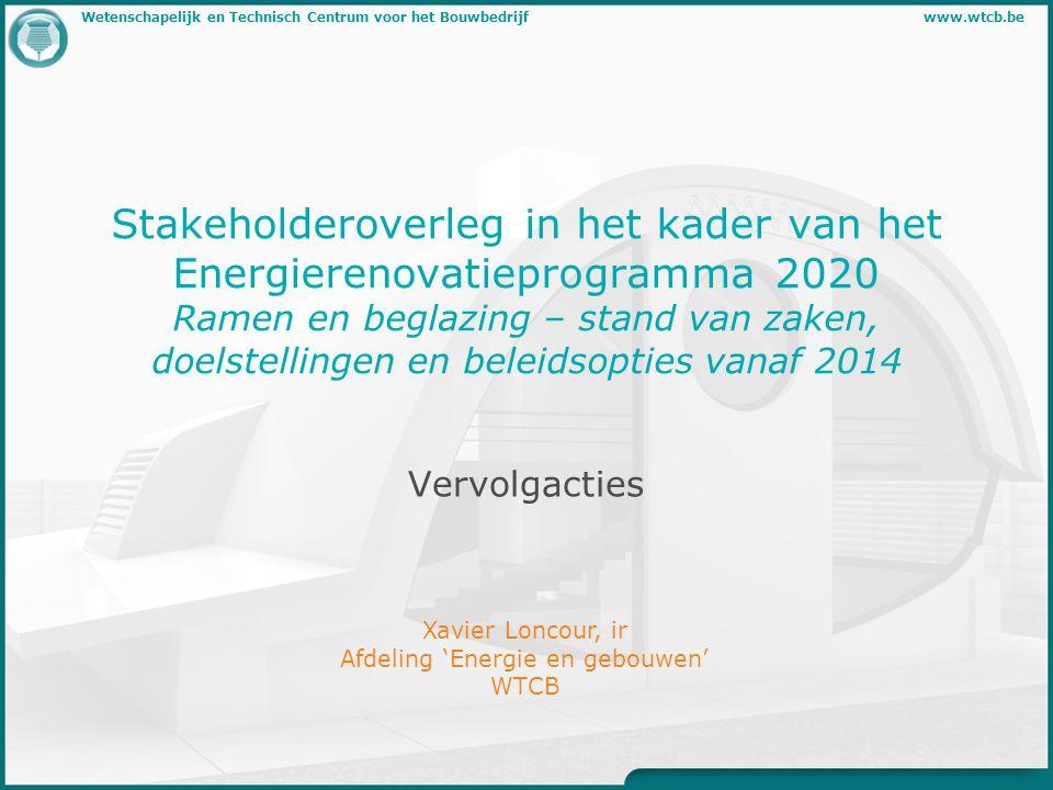 11/09/2012 Wetenschappelijk en Technisch Centrum voor het Bouwbedrijf http://www.wtcb.be ERP2020 - Vervolgacties Rekenmodel - isolatie - absorptie - regenlawaai Geluidisolatie van vensters (labowaarden) Venster = beglazing + frame opgelet: (sommige) frames voor passiefbouw toepassingen R Atr,venster = 29 dB !.