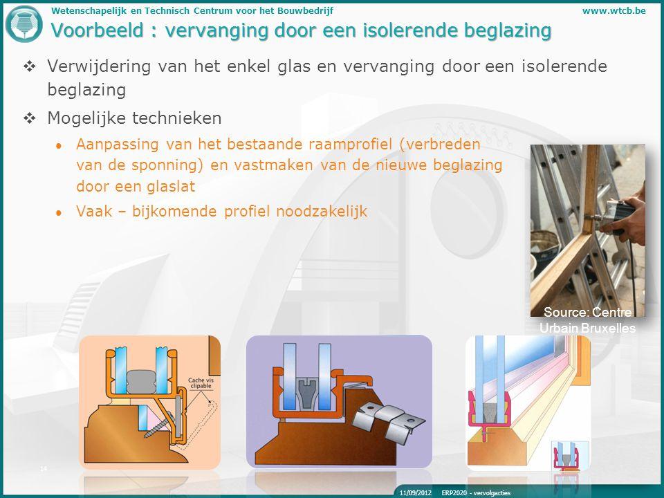 Wetenschapelijk en Technisch Centrum voor het Bouwbedrijfwww.wtcb.be 14 Voorbeeld : vervanging door een isolerende beglazing  Verwijdering van het en