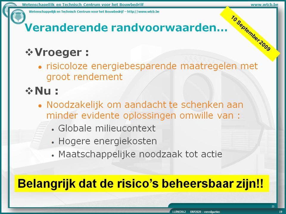 Wetenschapelijk en Technisch Centrum voor het Bouwbedrijfwww.wtcb.be 10 September 2009 11/09/2012ERP2020 - vervolgacties19