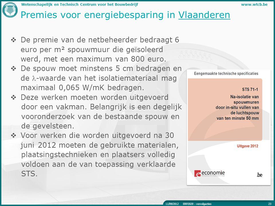 Wetenschapelijk en Technisch Centrum voor het Bouwbedrijfwww.wtcb.be Premies voor energiebesparing in Vlaanderen  De premie van de netbeheerder bedra
