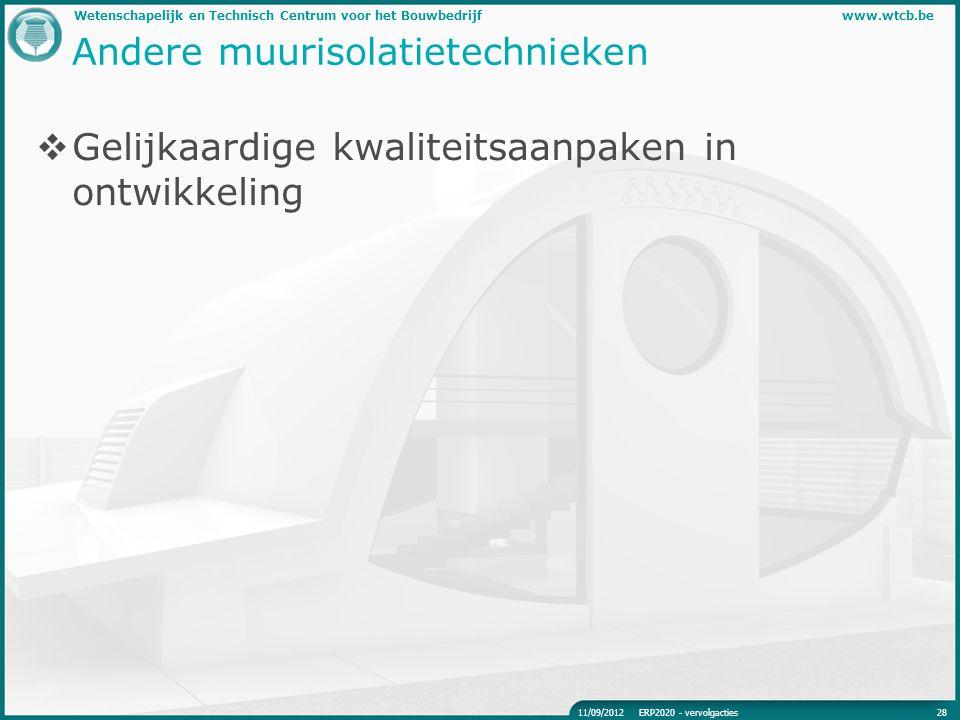 Wetenschapelijk en Technisch Centrum voor het Bouwbedrijfwww.wtcb.be Andere muurisolatietechnieken  Gelijkaardige kwaliteitsaanpaken in ontwikkeling