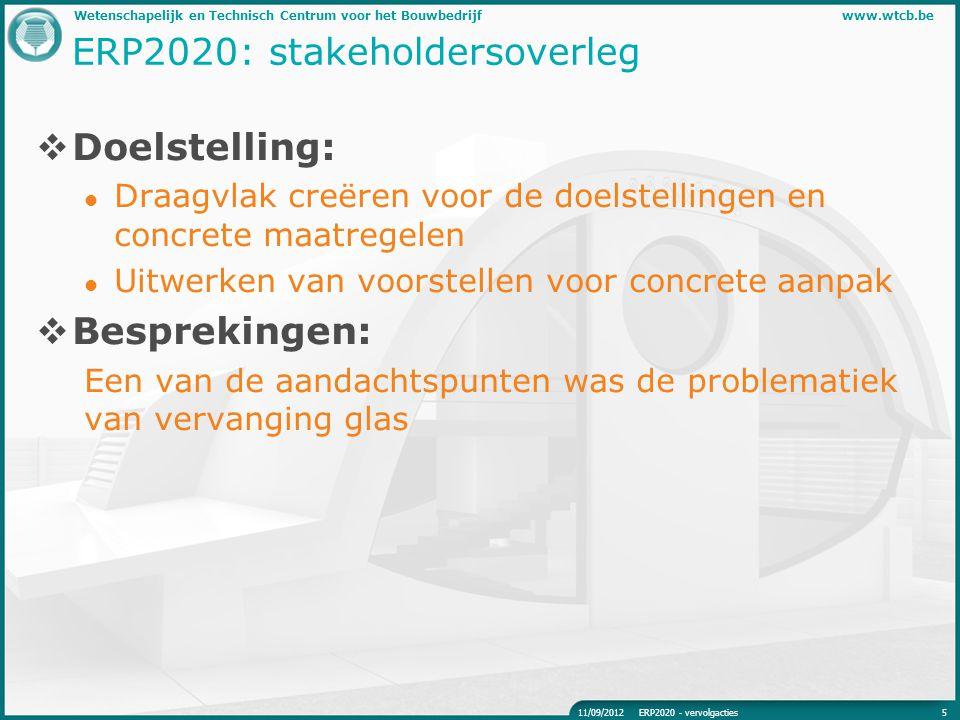 Wetenschapelijk en Technisch Centrum voor het Bouwbedrijfwww.wtcb.be ERP2020: stakeholdersoverleg  Doelstelling: Draagvlak creëren voor de doelstelli