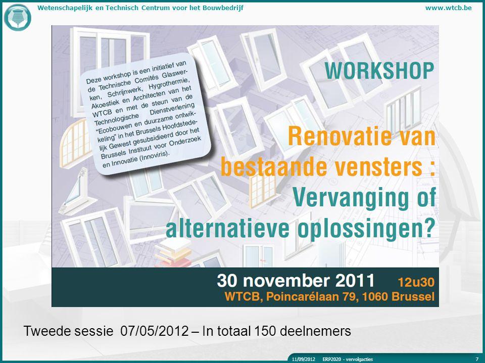 Wetenschapelijk en Technisch Centrum voor het Bouwbedrijfwww.wtcb.be Tweede sessie 07/05/2012 – In totaal 150 deelnemers 11/09/2012ERP2020 - vervolgac