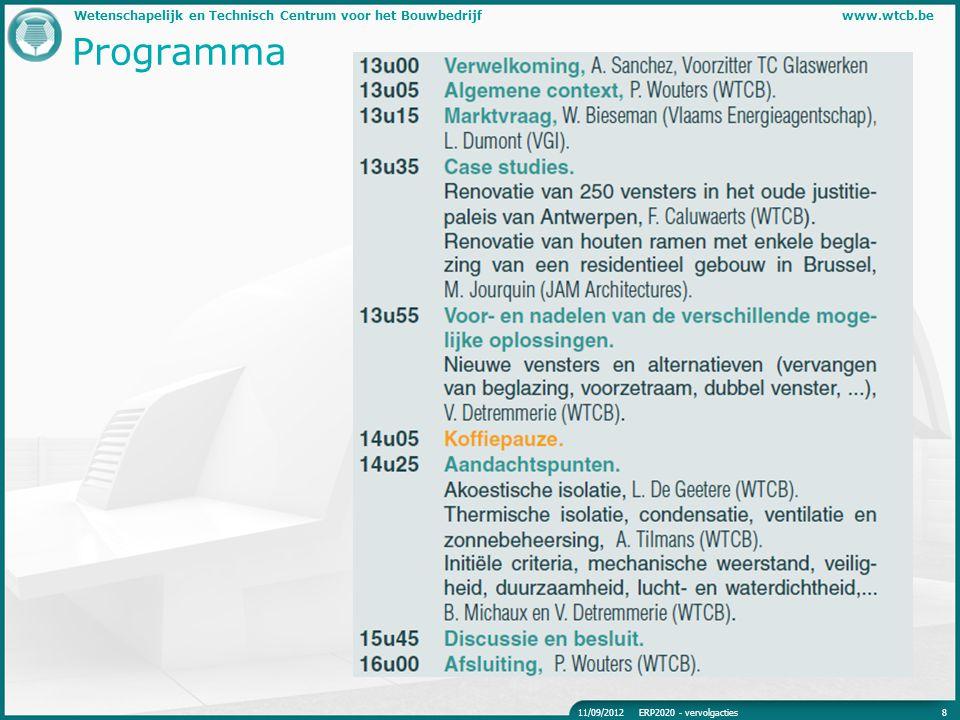 Wetenschapelijk en Technisch Centrum voor het Bouwbedrijfwww.wtcb.be Programma 811/09/2012ERP2020 - vervolgacties
