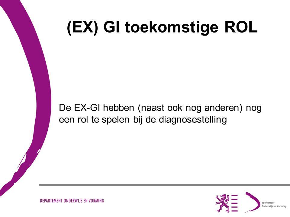 (EX) GI toekomstige ROL De EX-GI hebben (naast ook nog anderen) nog een rol te spelen bij de diagnosestelling