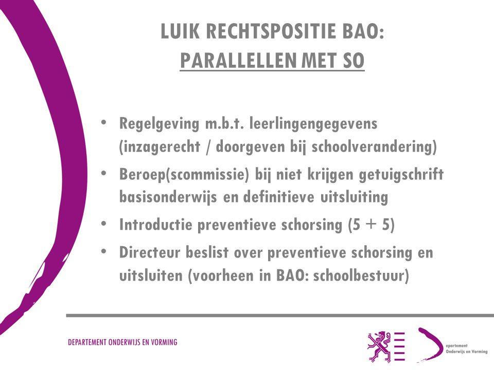 LUIK RECHTSPOSITIE BAO: PARALLELLEN MET SO Regelgeving m.b.t.