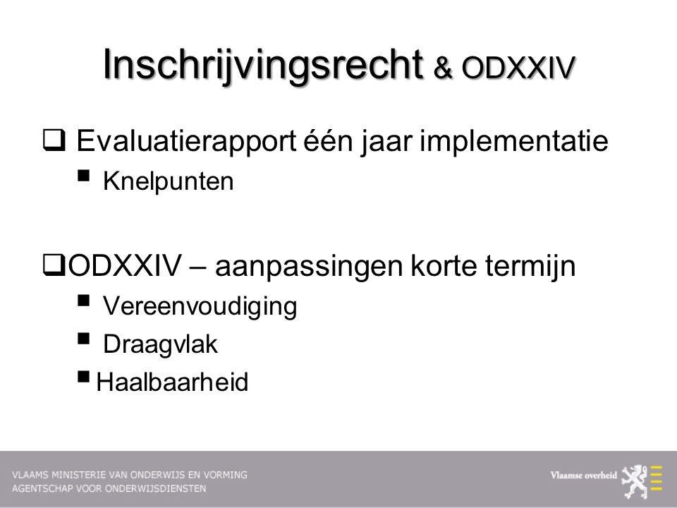 Inschrijvingsrecht & ODXXIV  Evaluatierapport één jaar implementatie  Knelpunten  ODXXIV – aanpassingen korte termijn  Vereenvoudiging  Draagvlak  Haalbaarheid