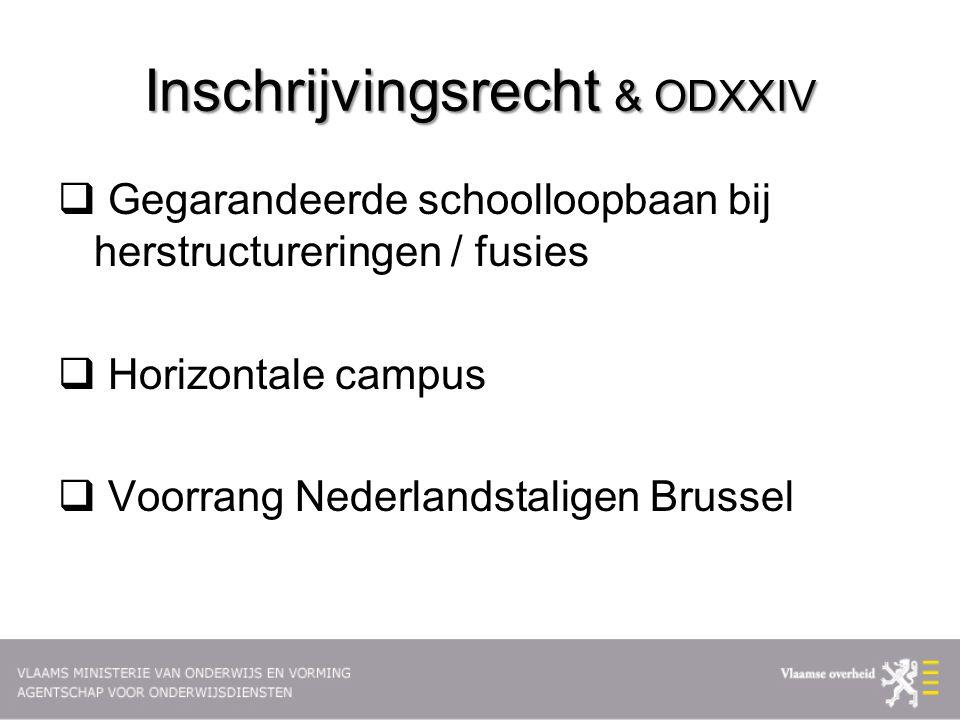 Inschrijvingsrecht & ODXXIV  Gegarandeerde schoolloopbaan bij herstructureringen / fusies  Horizontale campus  Voorrang Nederlandstaligen Brussel