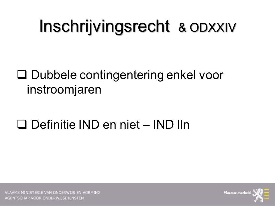 Inschrijvingsrecht & ODXXIV  Dubbele contingentering enkel voor instroomjaren  Definitie IND en niet – IND lln