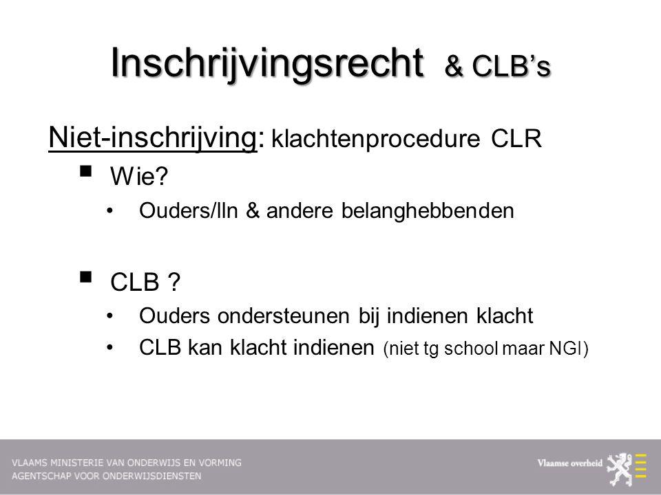 Inschrijvingsrecht & CLB's Niet-inschrijving: klachtenprocedure CLR  Wie.