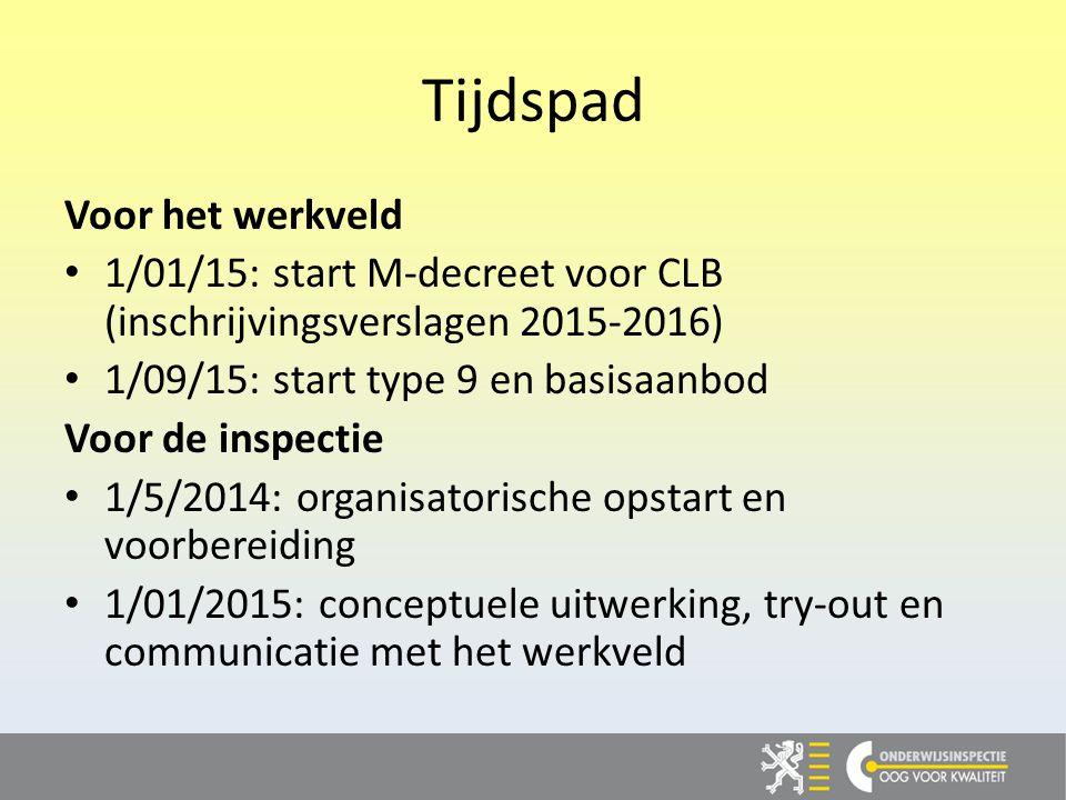 Tijdspad Voor het werkveld 1/01/15: start M-decreet voor CLB (inschrijvingsverslagen 2015-2016) 1/09/15: start type 9 en basisaanbod Voor de inspectie 1/5/2014: organisatorische opstart en voorbereiding 1/01/2015: conceptuele uitwerking, try-out en communicatie met het werkveld
