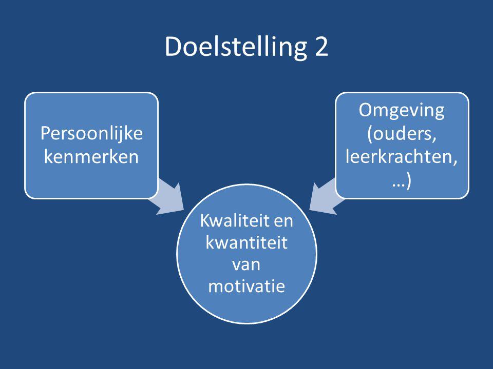 Doelstelling 2 Kwaliteit en kwantiteit van motivatie Persoonlijke kenmerken Omgeving (ouders, leerkrachten, …)