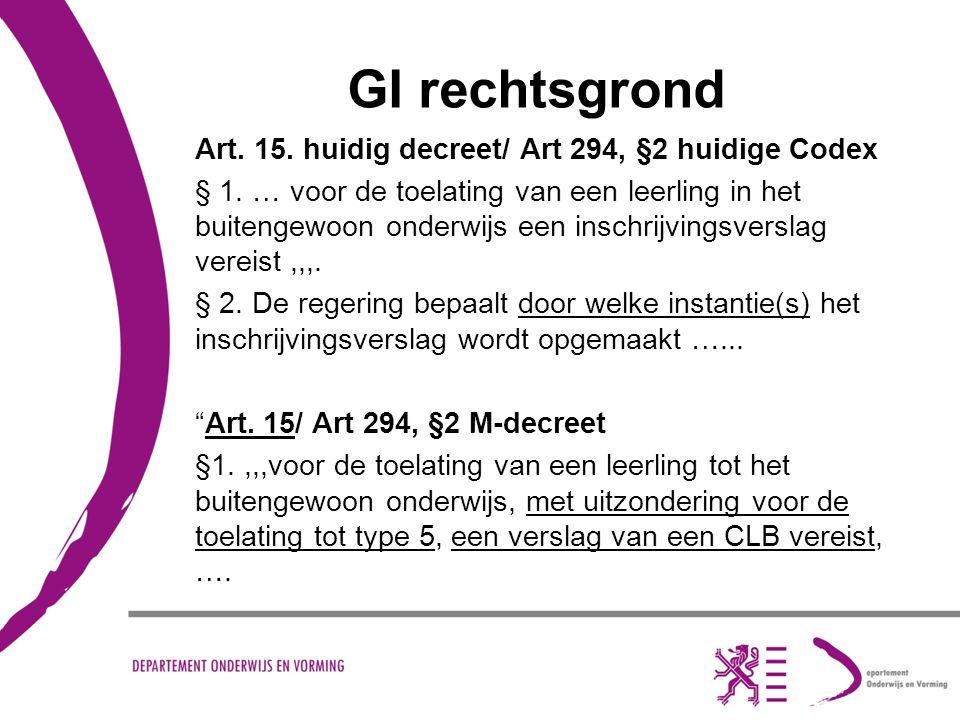 GI rechtsgrond Art.15. huidig decreet/ Art 294, §2 huidige Codex § 1.