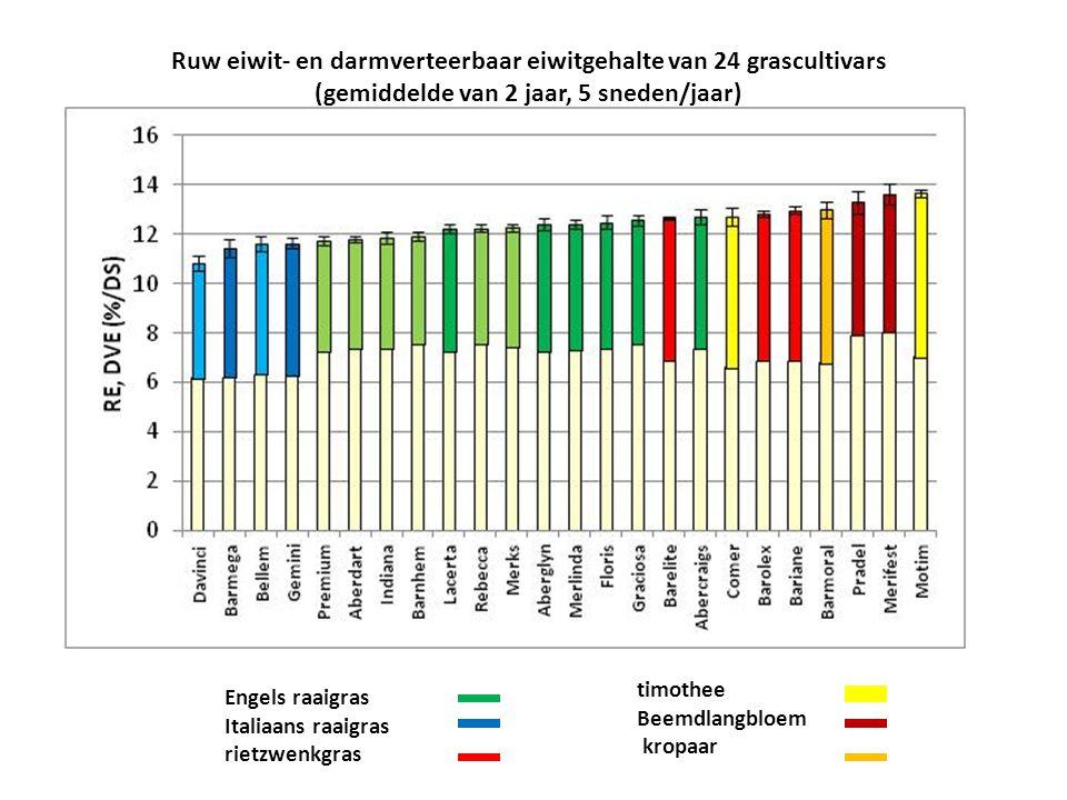 Ruw eiwit- en darmverteerbaar eiwitgehalte van 24 grascultivars (gemiddelde van 2 jaar, 5 sneden/jaar) Engels raaigras Italiaans raaigras rietzwenkgra