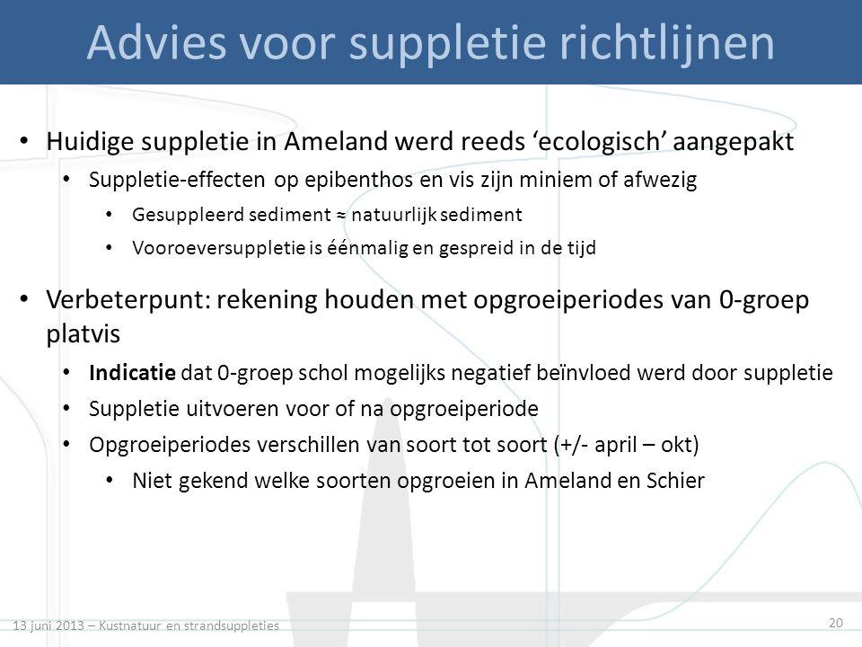 13 juni 2013 – Kustnatuur en strandsuppleties 20 Advies voor suppletie richtlijnen Huidige suppletie in Ameland werd reeds 'ecologisch' aangepakt Supp