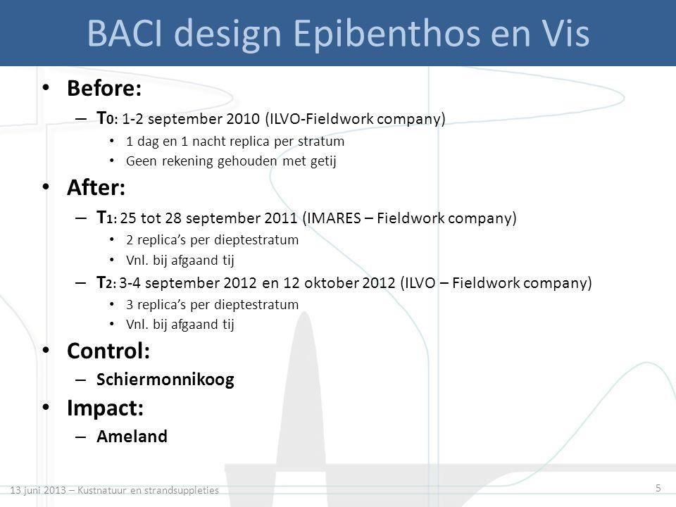 5 BACI design Epibenthos en Vis Before: – T 0: 1-2 september 2010 (ILVO-Fieldwork company) 1 dag en 1 nacht replica per stratum Geen rekening gehouden