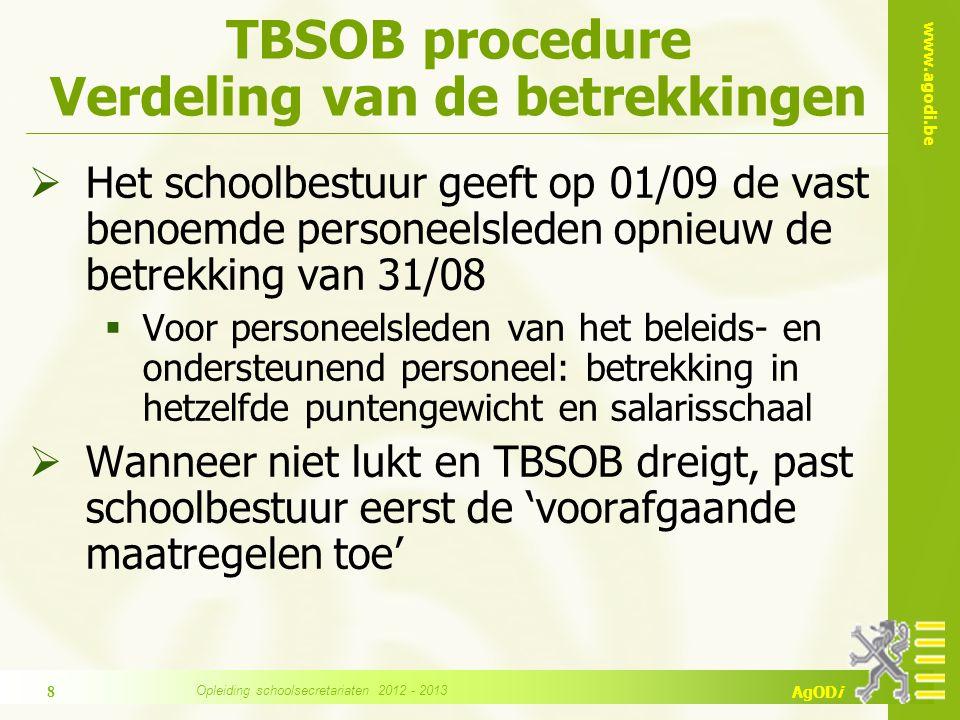 www.agodi.be AgODi TBSOB Procedure: Voorafgaande maatregelen Bij wie.