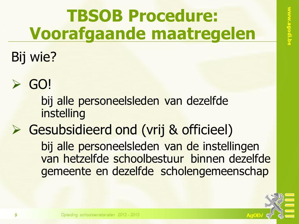 www.agodi.be AgODi TBSOB Procedure: Voorafgaande maatregelen Welke.